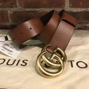Gucci Brown Leather Brass